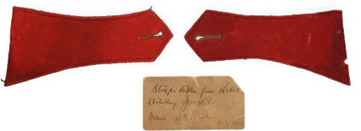 "FIG 1: Colonel Rhodes' ""souvenir"" Confederate, red shoulder straps are from a Tait, full-trim variant artillery jacket.  Images courtesy of Heritage Auctions."